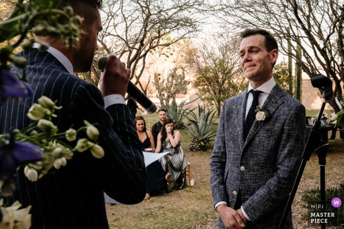 Groom emotional during vows at San Miguel de Allende
