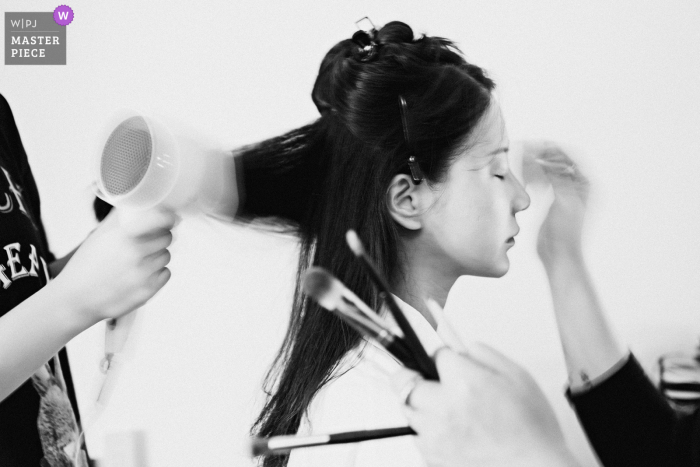 Fujian Hotel slow shutter image showing the Bridal makeup