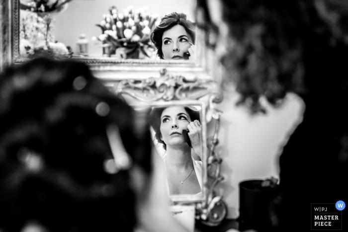 Campania Puglia wedding photo of the bride getting ready in multiple mirrors