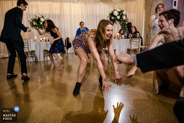 Wedding photography from the Rookery Chicagodance floor of guests dancing at the party