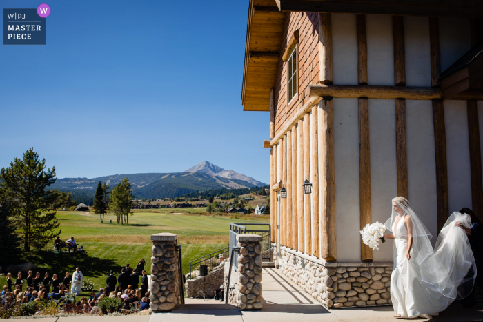 Wedding photo from Big Sky, Montana as the bride enters outdoor processional