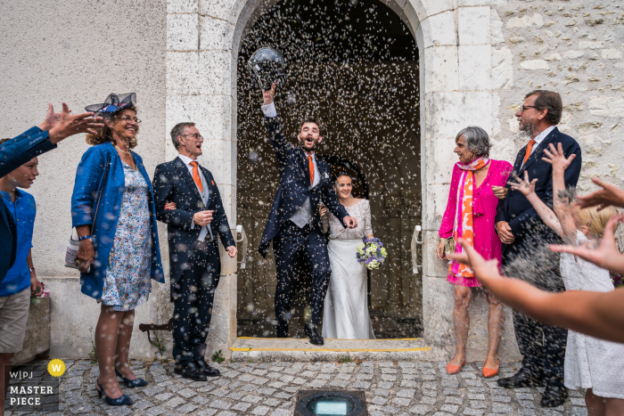 Wedding photography from Bourges of smiling time after intense church moment
