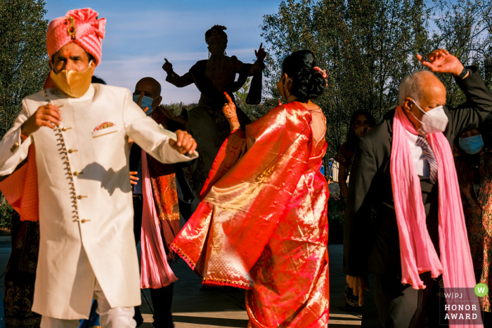 Michigan outdoor wedding photography from Ann Arbor Marriott at Eagle Crestof the Groom's Baraat