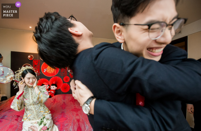 Wedding photo from Hangzhou, China of the men Playing the game