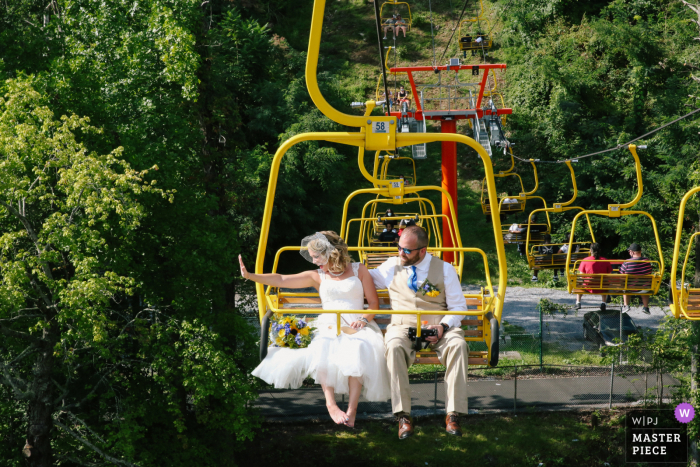 The newlyweds riding the sky lift after there ceremony at the Sky Bridge Park in Gatlinburg, TN