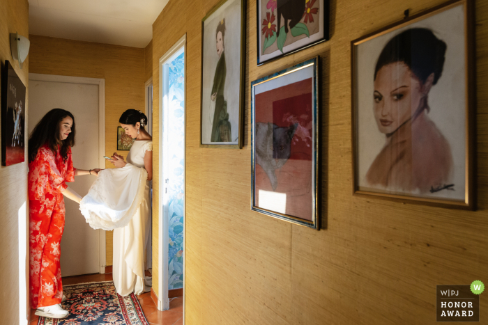 Paris wedding photo from the brides Île-de-France Home of the Bride and her bridesmaid during getting ready