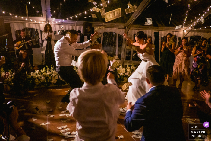 The bride and groom dance during their backyard reception in Pennsylvania