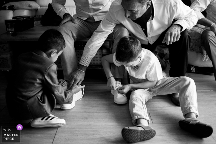 Marseille wedding photography at Home showing the Groom's team getting ready