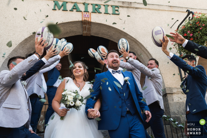 Domaine de Pécarrère, France wedding photography of the bride and groom exiting Mairie