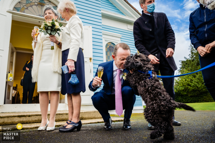 A Dublin wedding photographer created this image outside the Kilternan Church, Dublin, Ireland of the Groom greeting his dog after the ceremony