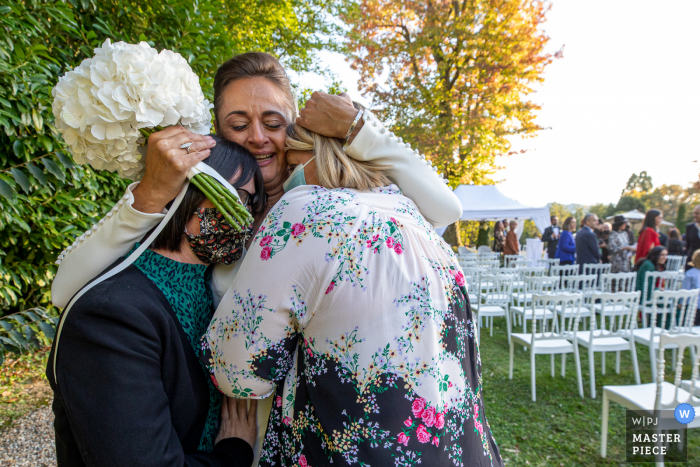 A Hautes-Pyrenees (65) wedding photographer captured this moment in Occitanie After ceremony of the Bride and guests with emotion