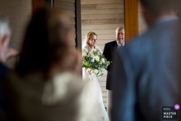Rhode Island wedding photography from Westerly showing the Bride with father just before walking into ceremony