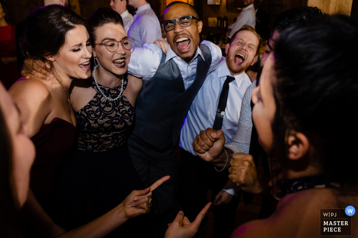 Photo showing this Philadelphia wedding reception is in full party swing...pre-COVID-19 outbreak