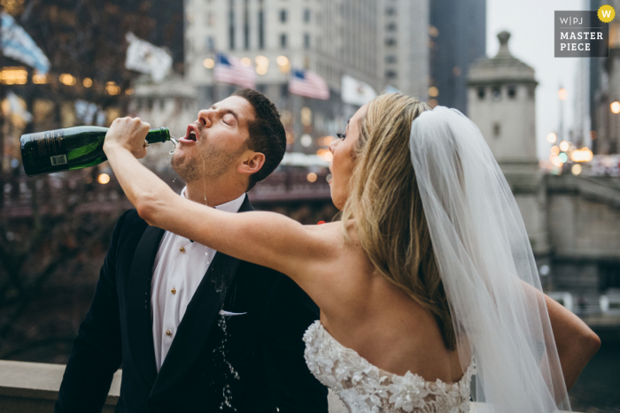 Wedding photography from a Chicago Illinois Reception of the Pouring of Champagne
