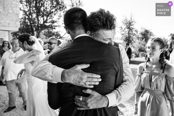 France wedding photo in b&w showing some warm Montpellier Brother love