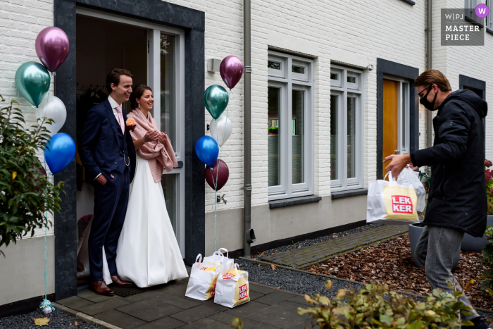 Noord Brabant wedding photo from a Netherlands at-Home event of a Take-away wedding diner delivered in covid time