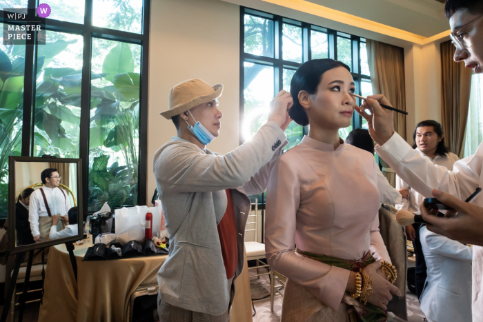 Wedding photography from The Peninsula Bangkok of the brides Getting ready time