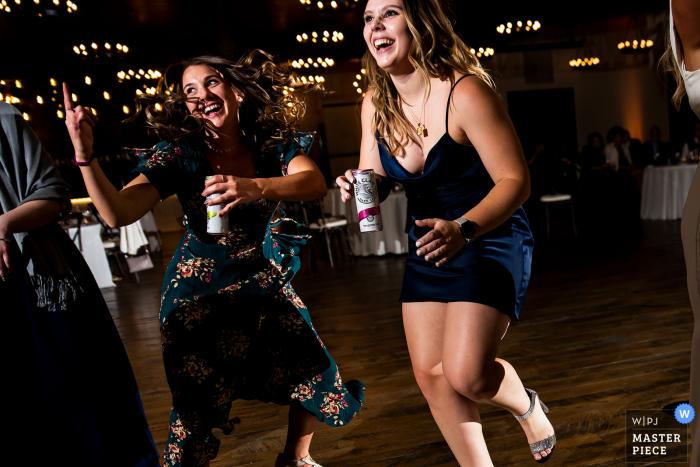 Colorado wedding photo from Black Canyon Inn (Estes Park, CO) showing wedding guests dancing during reception