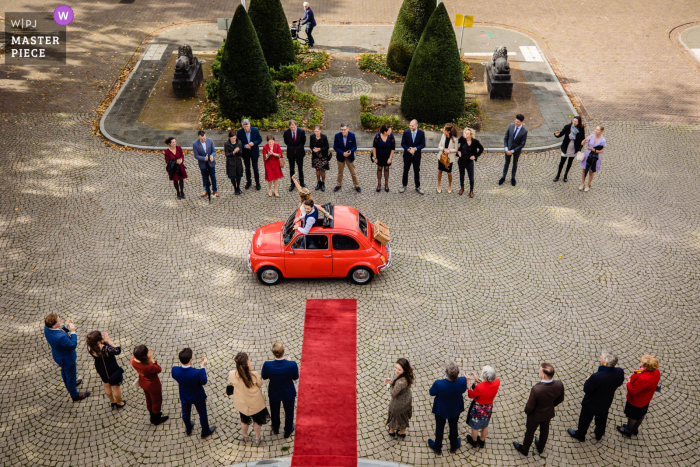 Wedding photography from Noord Brabant with an overhead angle of the first look