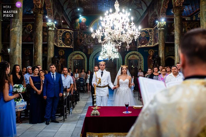 Wedding photo from the Holy Trinity Church, Ruse, Bulgaria of the ceremony in the presence of both families