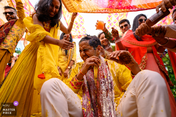Wedding photo from taj Lands end, Mumbai of the Haldi madness!