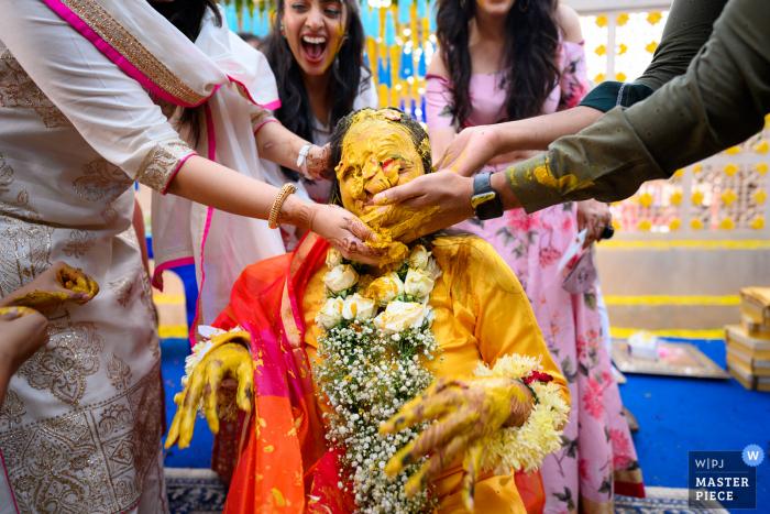 India wedding photography from Jodhpur of some fun haldi moments
