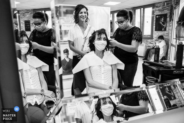 Wedding photo from the Hairdresser - Bar le Diuc	as the Bride and her sister are getting ready