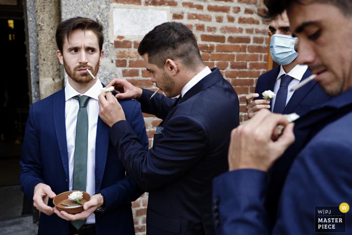 Italy wedding photo from Chiesa Santa Maria Rossa, Milano - ITALY of The Groomsmen getting ready
