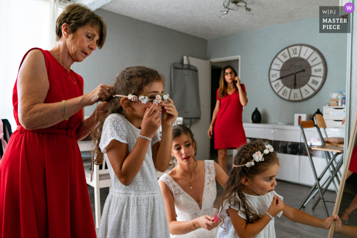 France wedding photography in Paris of pre-ceremony Family prep with the flower girls