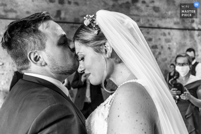 Palazzo Duchi di Santo Stefano, Taormina wedding photography showing The moment in which these spouses meet for the ceremony is intimate and intense