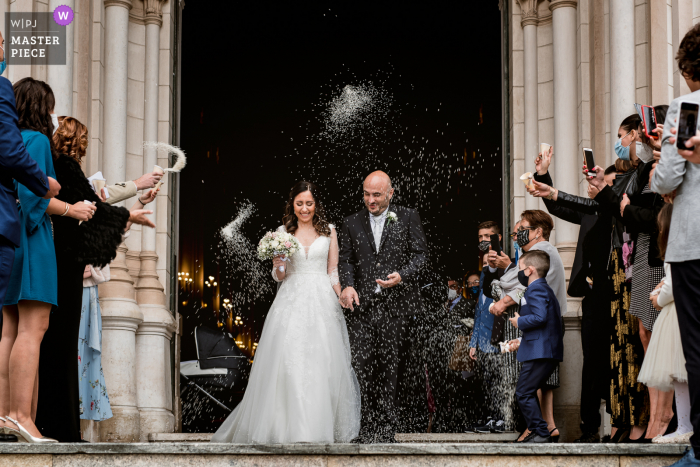Apulia Church wedding photography showing the joy of the spouses at the exit