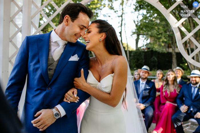 Castelo Saint Andrews, Gramado, Brazil wedding photo of Bride and Groom meeting at the outdoor ceremony