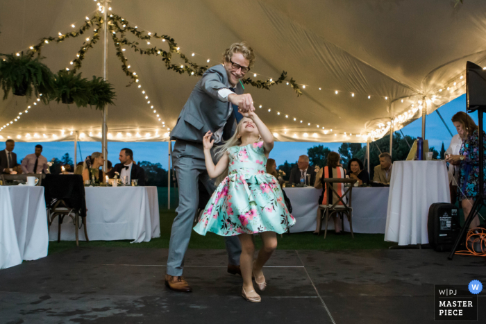 Grand Rapids, Minnesota on the lake wedding image of Guests dancing at the reception in a tent