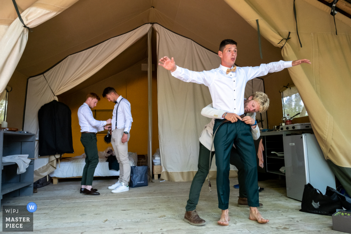 Les Ormes wedding photography of the groom getting ready
