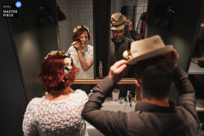A wedding photographer in Paris created this image ofThe couple during getting ready