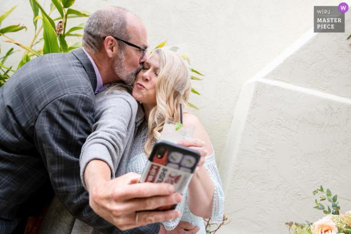 Presidio Officers' Club, San Francisco, CA wedding photography showing A smooshed selfie