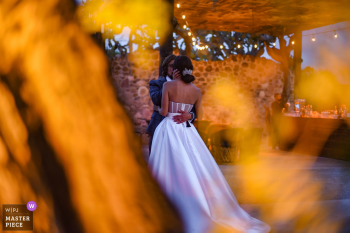 Opuntia Events, San Miguel de Allende outdoor marriage reception party award-winning photo that has recorded a tree illuminated with artificial lights to cause this blurred frame between a short dance of the couple