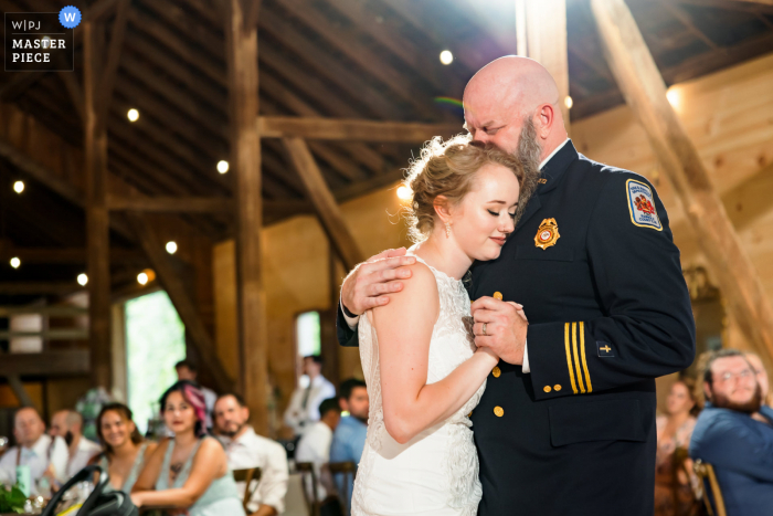 Sylvanside Farm, Purcellville, VA indoor wedding reception party award-winning picture showing an emotional Father daughter dance