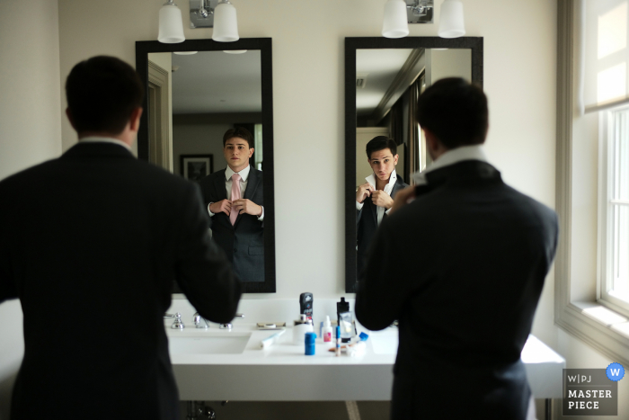 Groton Inn, MA marriage preparation time award-winning picture capturing grooms people mirror fixings