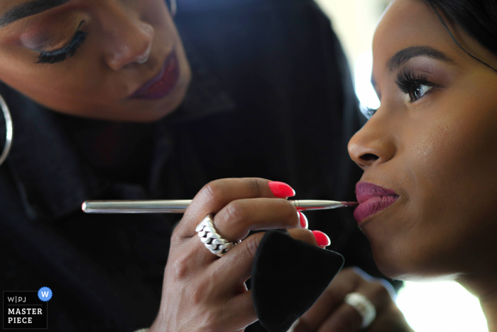 Rotterdam marriage preparation time award-winning picture capturing Getting ready for brides lips. The world's best wedding image competitions are held by the WPJA