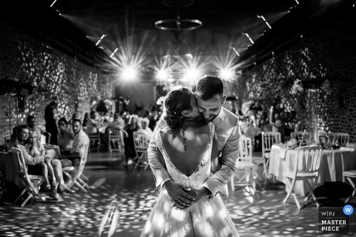 Marseille indoor wedding reception party award-winning picture showing the First dance in BW