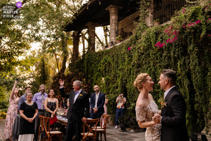 Hacienda Acamilpa outdoor marriage reception party award-winning photo that has recorded the couples First dance. The world's top wedding photographers compete at the WPJA