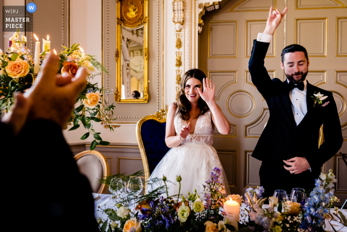 Markree Castle, Ireland marriage reception party award-winning photo that has recorded the grand Entrance of bride and groom - from the world's best wedding photography competitions offered by the WPJA