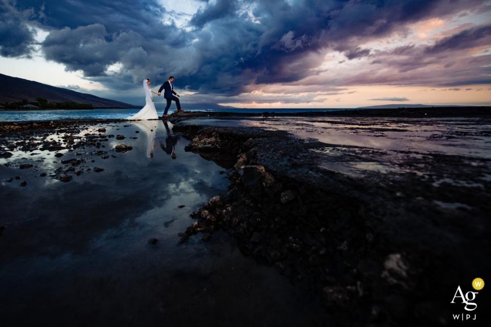 Olowalu Plantation House, Maui, Hawaii wedding pictures: High tide at Olowalu Pier