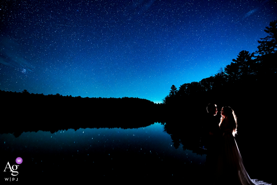 Forest Lake Camp (Upstate New York) Wedding Portait Session at Night. | Bride and groom under the stars