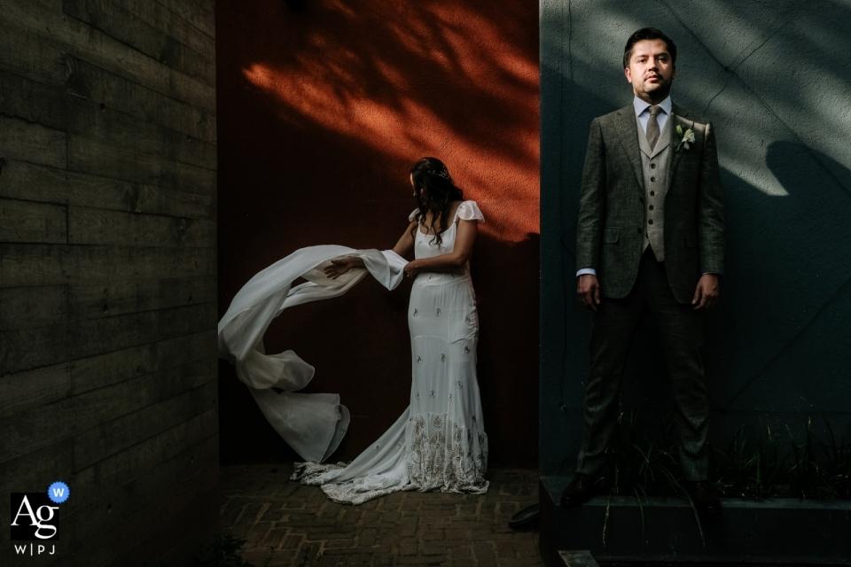 Hotel Callejon, Oaxaca bride and groom portrait after their wedding ceremony