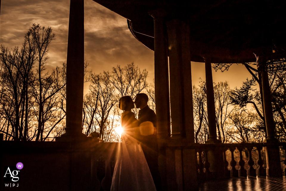 Villa Martinello Mapello Hochzeits Event Fotografie   Porträt des Paares bei Sonnenuntergang