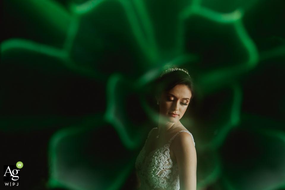 Hotel Weiand Lajeado Brasil wedding venue photo   Portrait of the bride in green image.