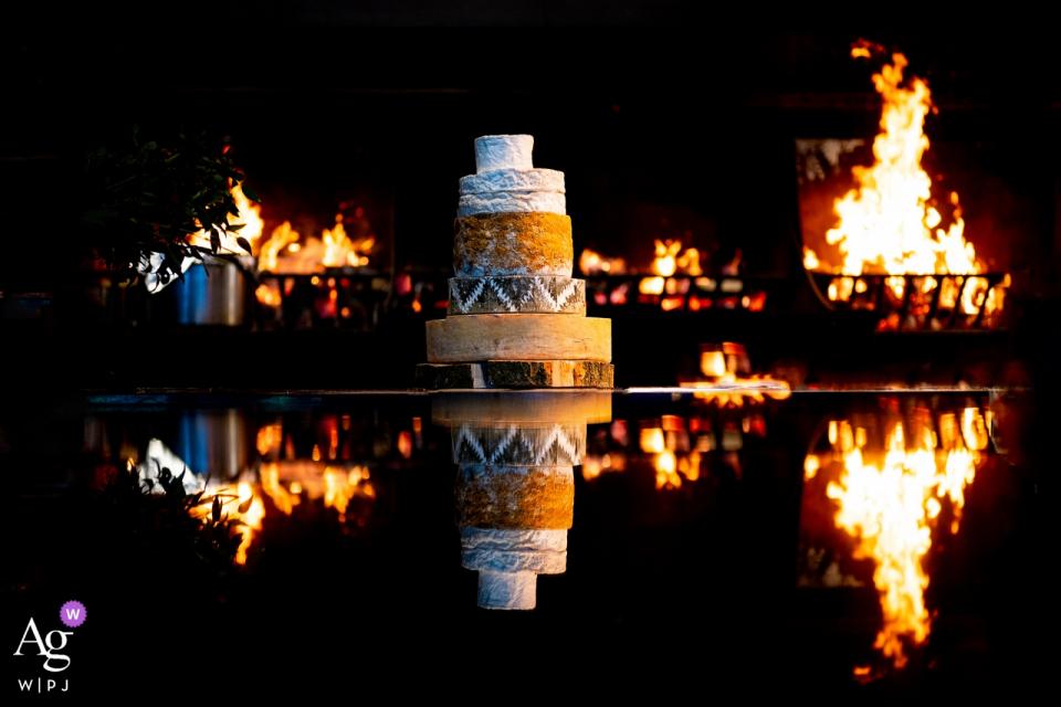 Stone Barn, Upper Windrush, Cheltenham, UK | Wedding cake photo made of cheese