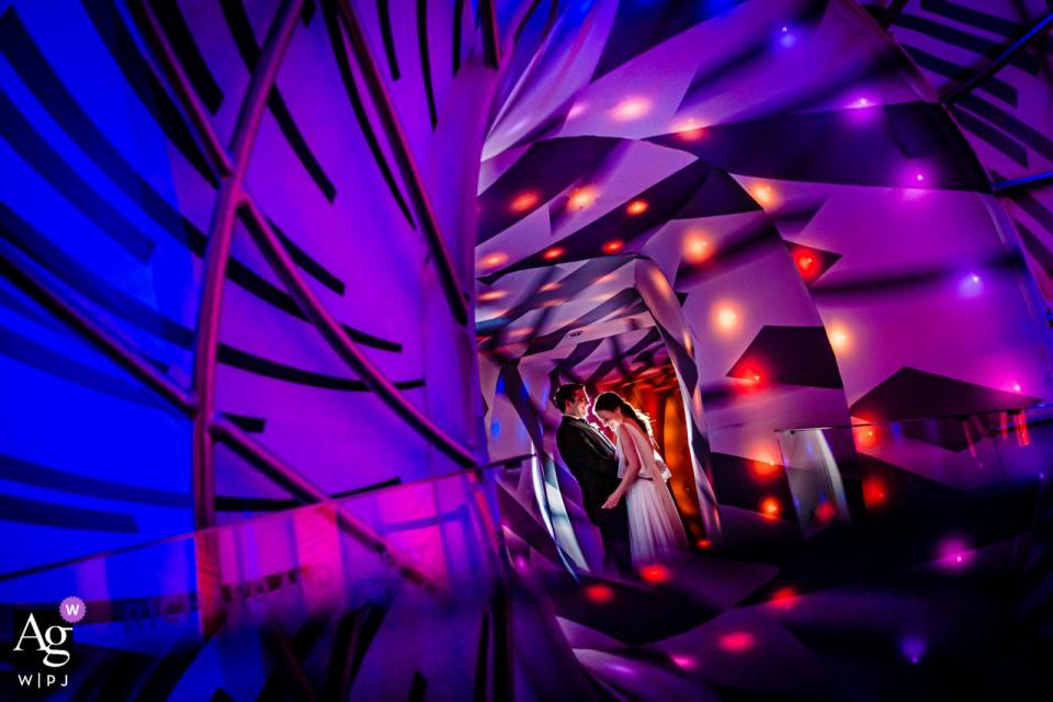 Adler Planetarium, Chicago, IL session de portrait de couple de mariage dans un couloir coloré